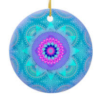Lotus Bloom Turquoise Mandala ID129 Ceramic Ornament