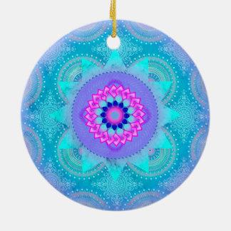 Lotus Bloom Turquoise Mandala ID129 Ceramic Ornament