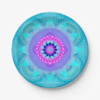 Lotus Bloom Turquoise Mandala ID129 Paper Plate