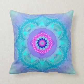 Lotus Bloom Turquoise Mandala ID129 Throw Pillow