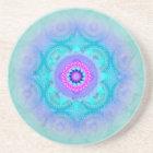 Lotus Bloom Turquoise Mandala Sandstone Coaster
