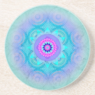Lotus Bloom Turquoise Mandala Sandstone Coaster