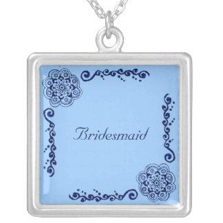 Lotus Blossom (Blue) Square Pendant Necklace