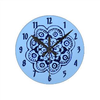 Lotus Blossom (Henna)(Blue) Round Wall Clocks