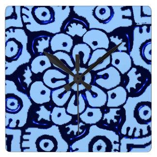 Lotus Blossom (Henna)(Blue) Square Wall Clock