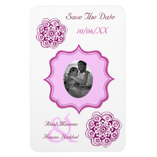 Lotus Blossom (Henna) (Pink) (Save The Date) Rectangle Magnets