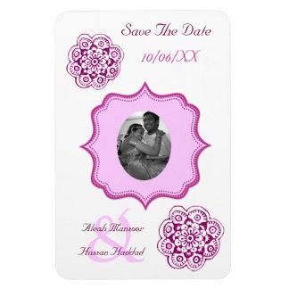Lotus Blossom (Henna) (Pink) (Save The Date) Rectangular Photo Magnet