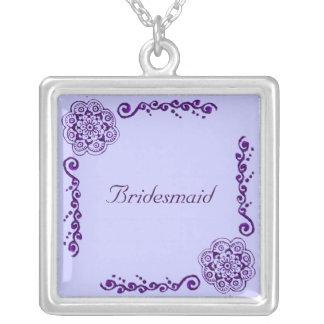 Lotus Blossom (Henna) (Purple) Square Pendant Necklace