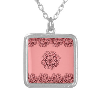Lotus Blossom (Henna)(Red) Square Pendant Necklace
