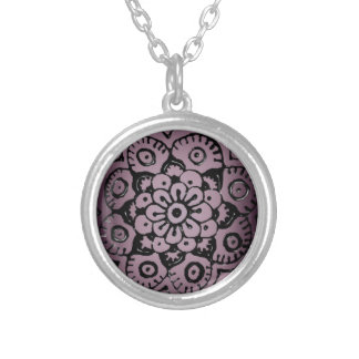 Lotus Blossom (Henna) Round Pendant Necklace