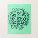 Lotus Blossom (Henna)(Teal) Jigsaw Puzzle
