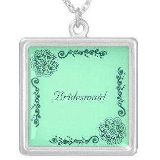 Lotus Blossom (Henna)(Teal) Square Pendant Necklace