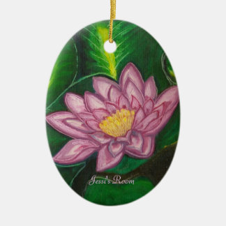 Lotus Blossom (Lily Pad) Double-Sided Oval Ceramic Christmas Ornament
