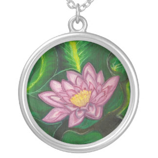 Lotus Blossom (Lily Pad) Round Pendant Necklace