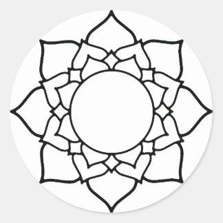 Lotus Blossom Mandala Line Drawing Classic Round Sticker