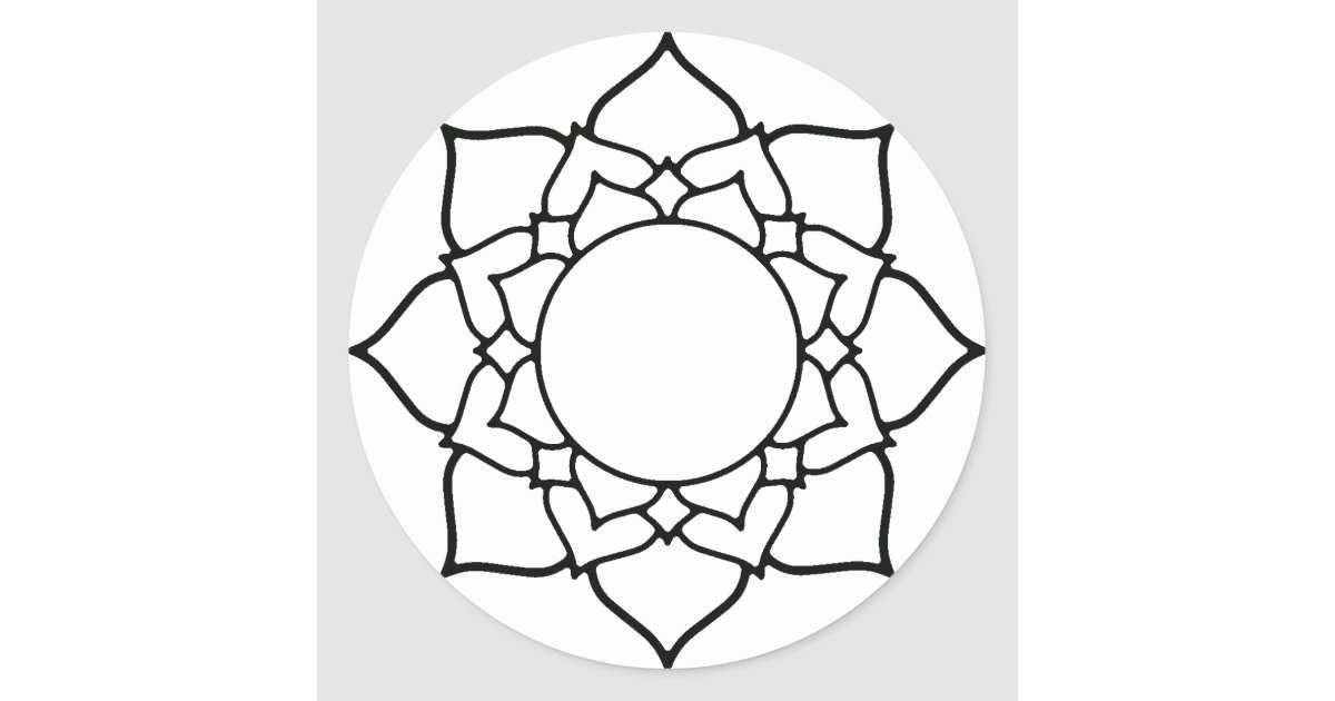 Line Drawing Mandala : Lotus blossom mandala line drawing classic round sticker