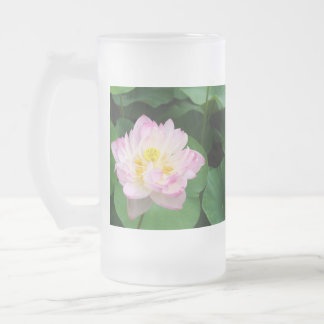 Lotus Blossom 16 Oz Frosted Glass Beer Mug