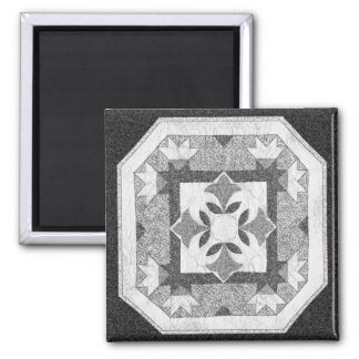 Lotus Blossom Quilt 2 Inch Square Magnet