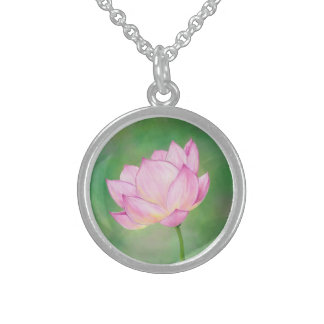 Lotus blossom sterling silver pendant necklace