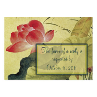 Lotus Blossom Wedding RSVP Reply Card Large Business Cards (Pack Of 100)