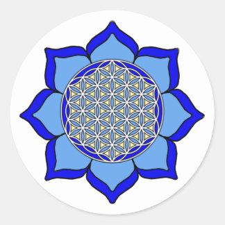 Lotus Blue5 Classic Round Sticker