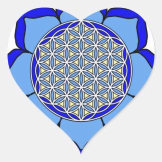 Lotus Blue5 Heart Sticker