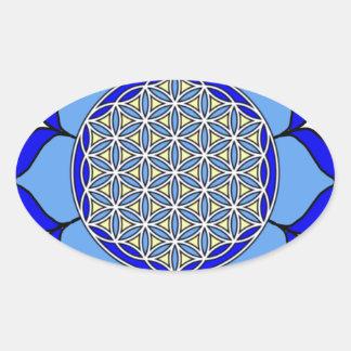 Lotus Blue5 Oval Sticker
