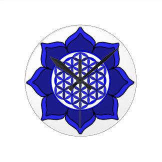Lotus Blue7 Round Wallclocks