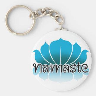 Lotus Blue Basic Round Button Keychain