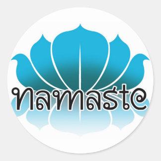 Lotus Blue Classic Round Sticker