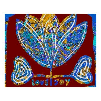 Lotus Blue - Sign of LOVE and JOY Print