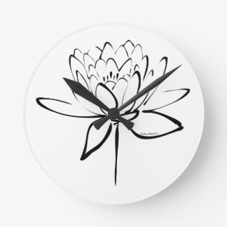 Lotus Calligraphy (Black) Round Wall Clock