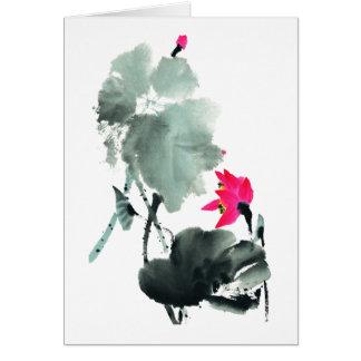 Lotus/Chinese Brush Painting Art/Blank Card