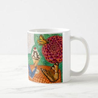 Lotus, dahlia, butterflies and desserts classic white coffee mug