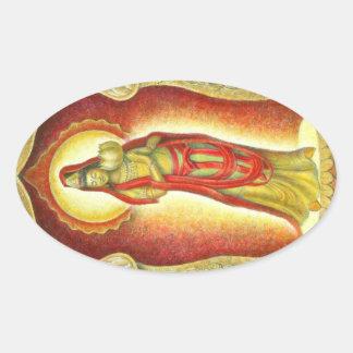 Lotus de Kuan Yin de la diosa Pegatina Ovalada