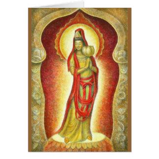 Lotus de Kuan Yin de la diosa Tarjeta De Felicitación