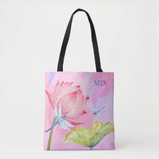 lotus dragonflies soft pink fashion customizable tote bag