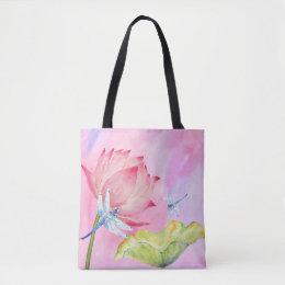 lotus dragonflies watercolor summer soft pink bag