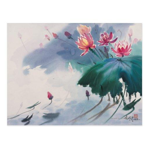 Lotus en la charca tarjeta postal