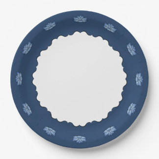 Lotus exquisito en placa de papel azul plato de papel de 9 pulgadas