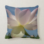 Lotus Flower and Blue Sky II Nature Photography Throw Pillow
