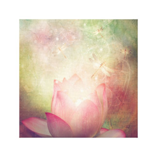 Lotus Flower and Dragonflies Canvas Print