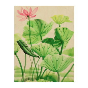 Lotus flower and leaves wood wall art  sc 1 st  Zazzle & Lotus Flower Wood Wall Art | Zazzle