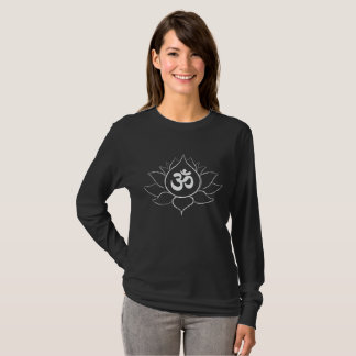 Lotus Flower and Om symbol (white on black design) T-Shirt