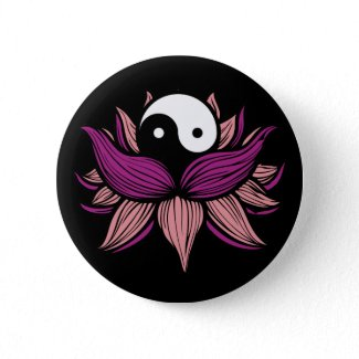 Lotus Flower and Yin Yang button