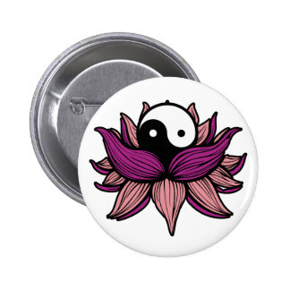 Lotus Flower and Yin Yang 2 Inch Round Button