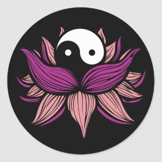 Lotus Flower and Yin Yang Classic Round Sticker