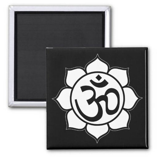 Lotus Flower Aum Symbol 2 Inch Square Magnet