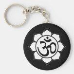 Lotus Flower Aum Symbol Basic Round Button Keychain