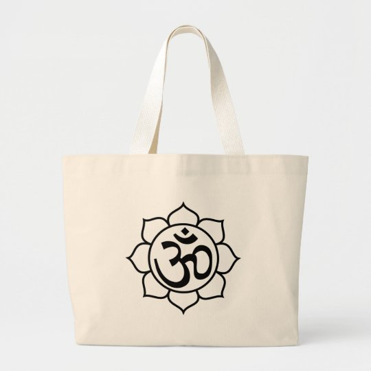 Lotus Flower Aum Symbol Large Tote Bag